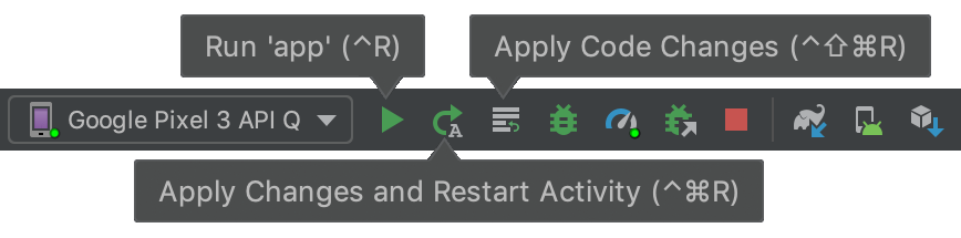 Apply Changes 的工具栏按钮。