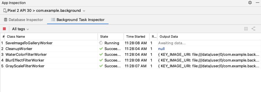 Pekerja yang aktif di Background Task Inspector