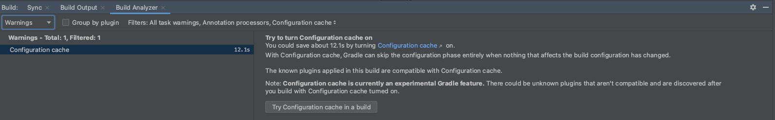 Informasi cache konfigurasi di Build Analyzer