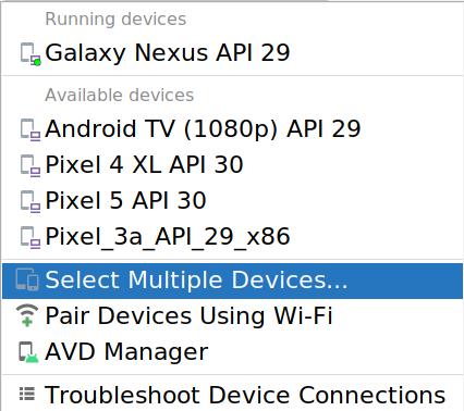 Caixa de diálogo para modificação do conjunto de dispositivos