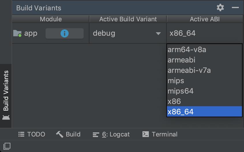 Build Variants 面板按 ABI 显示单个变体选择。