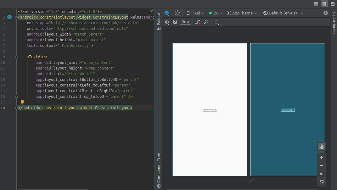 tampilan terpisah menampilkan desain dan tampilan teks secara bersamaan