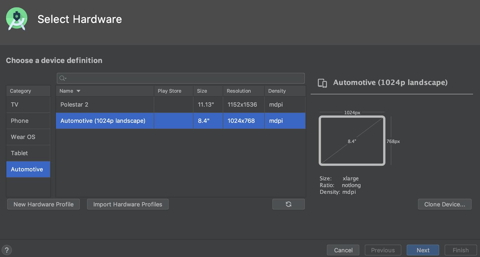 Memilih perangkat virtual Android Automotive.