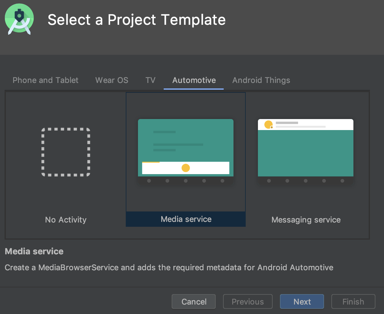 Memilih template project Android Automotive.