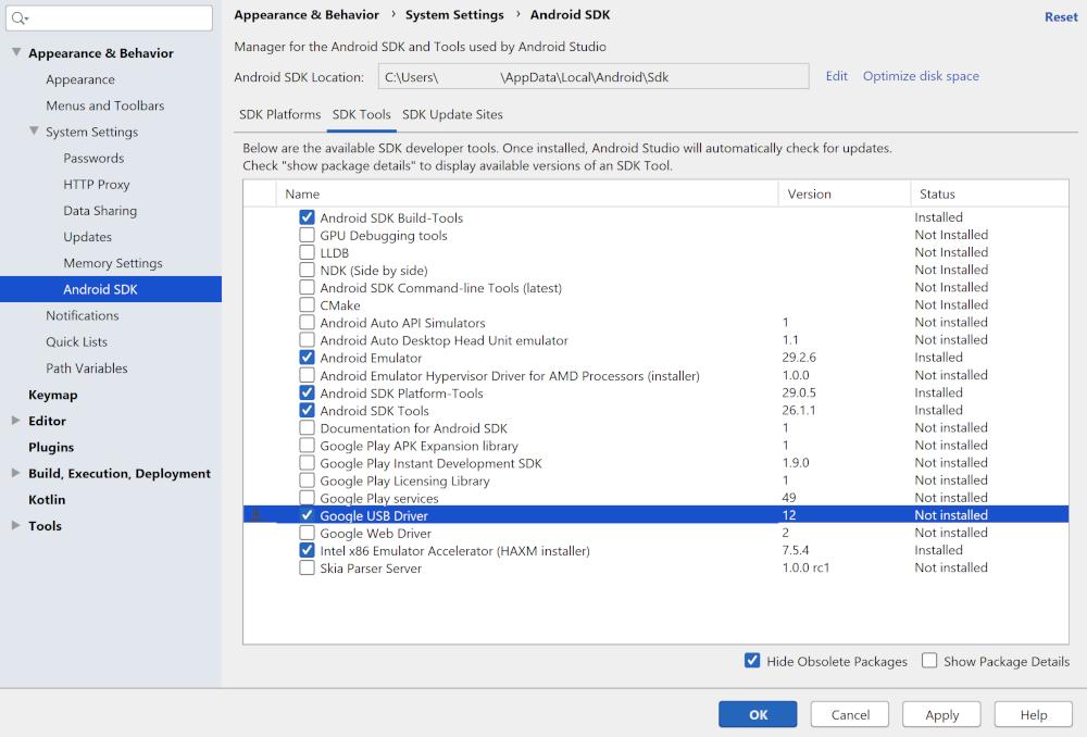 """选中了""""Google USB Driver""""的 SDK 管理器"""