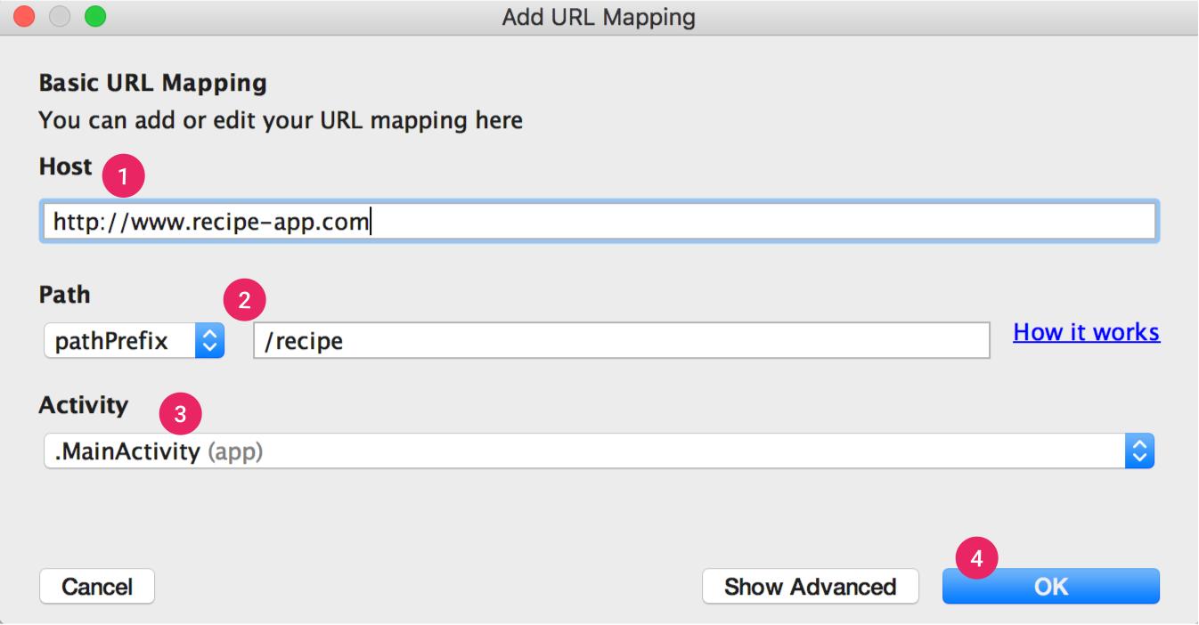 App Links Assistant 将引导您逐步完成基本的网址映射流程