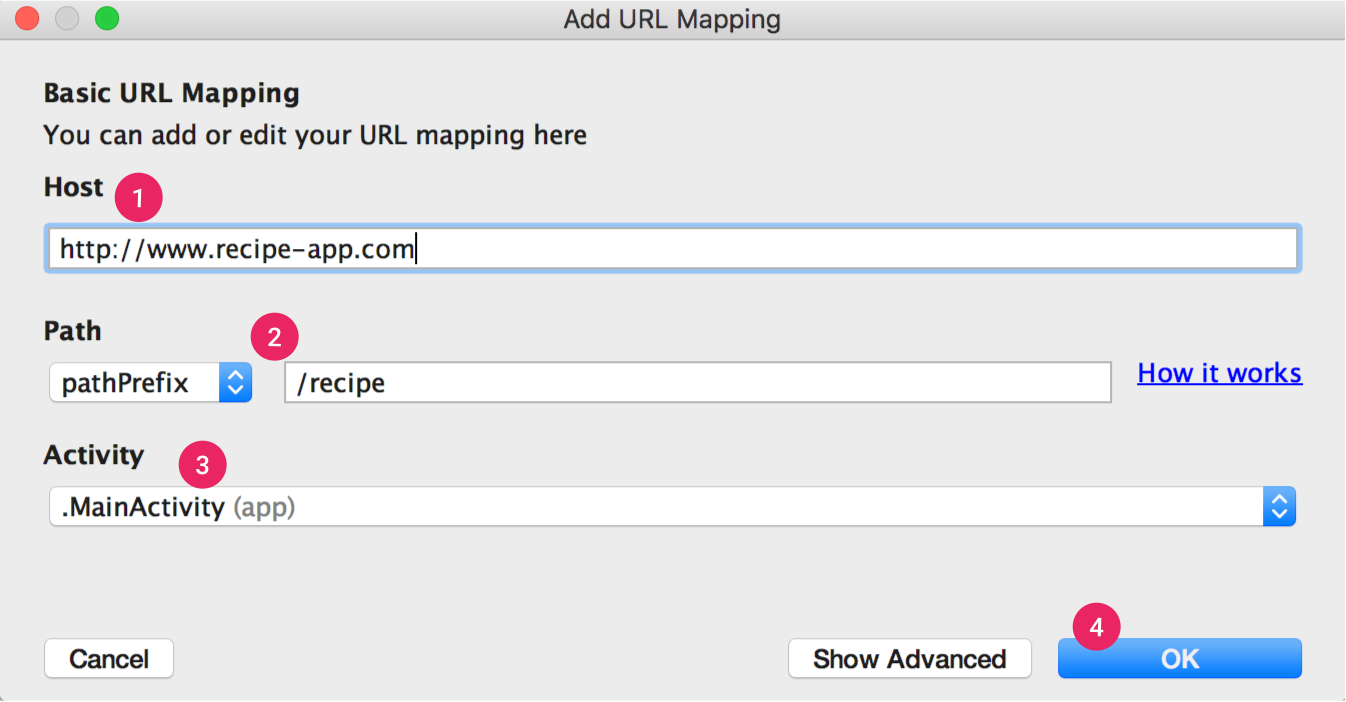 O App Links Assistant orienta você no mapeamento básico de URLs