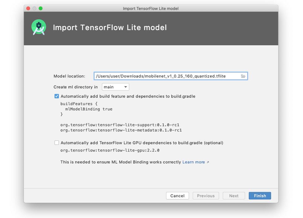 Importar um modelo do TensorFlow Lite