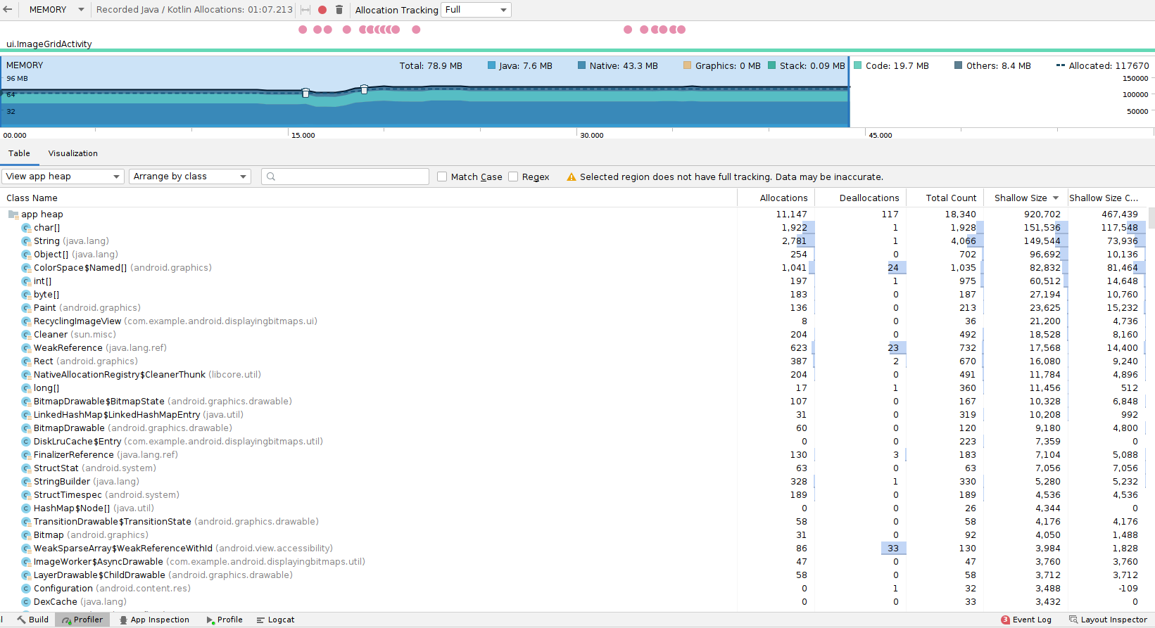 内存分析器中显示的内存分配