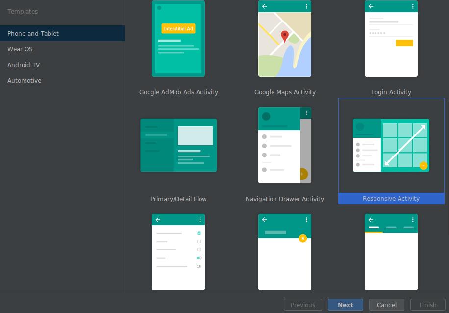 Modelo de layout responsivo no novo assistente de projeto