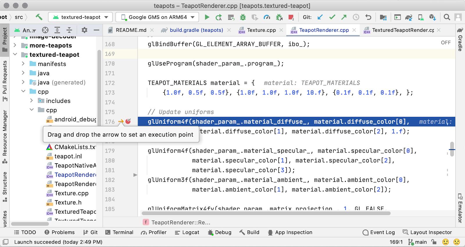 C / C++ コードエディタで実行ポイントを設定する