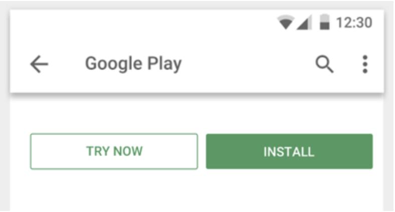 Tombol 'Coba Sekarang' yang muncul di samping tombol 'Instal'