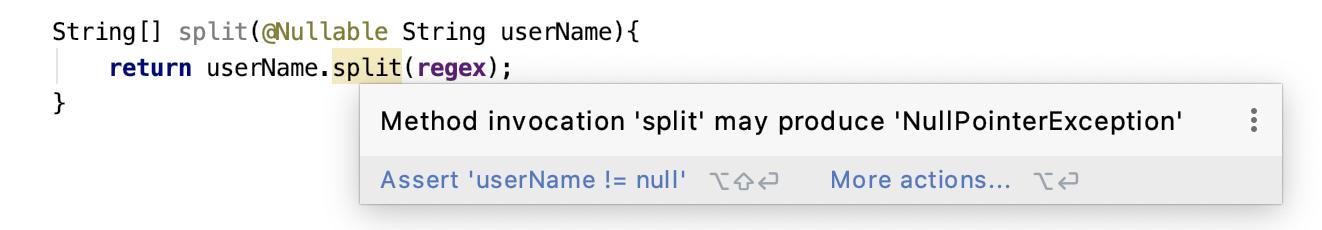 null 指针异常警告