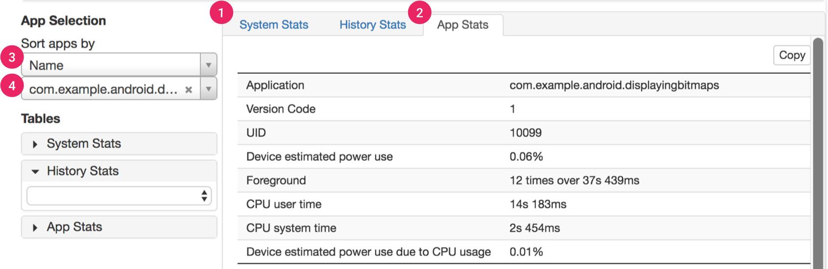 Battery Historian 的统计信息部分