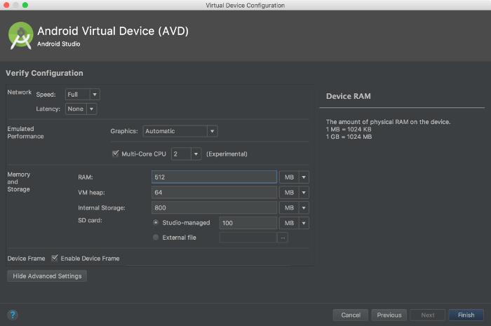Setelan memori di AVD Manager