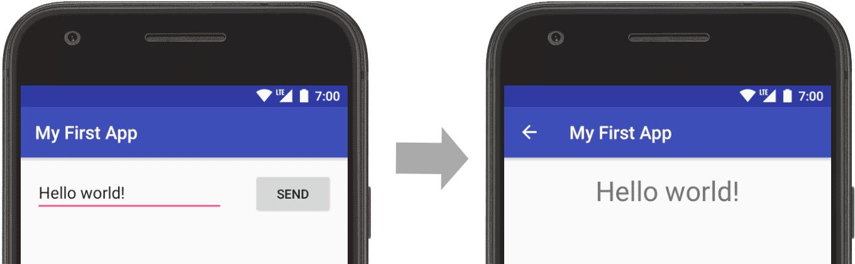 应用已打开,文本输入在左侧屏幕并显示在右侧。